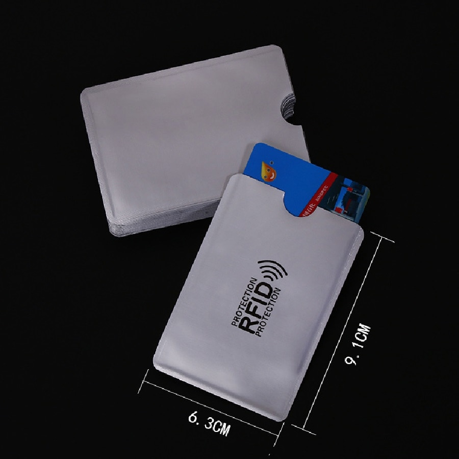 100pcs/lot Anti-Scan Card Sleeve Credit RFID Card Protector Anti-magnetic Aluminum Foil Portable Bank Card Holder недорого