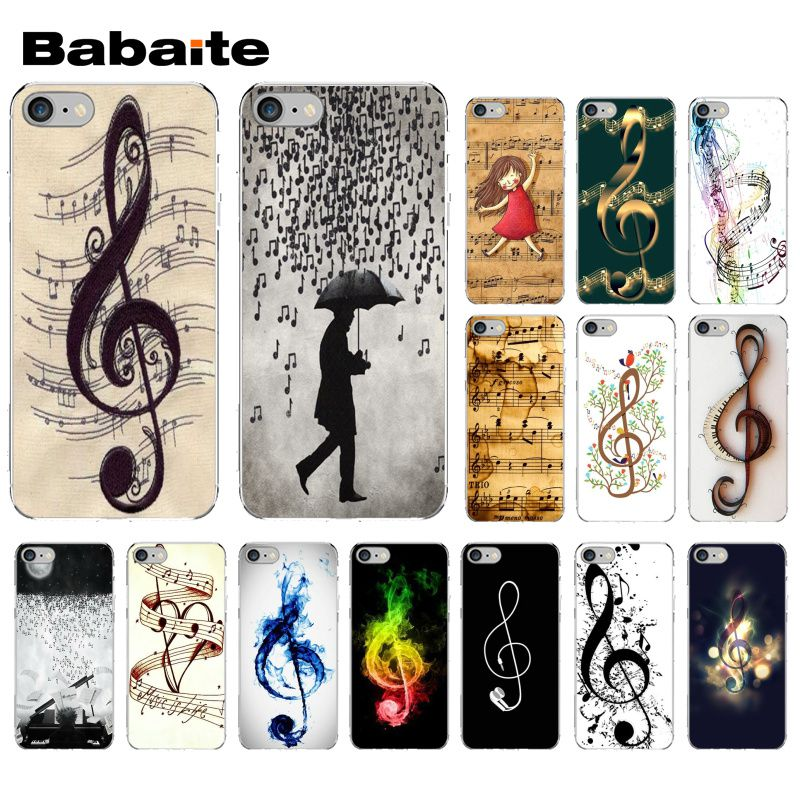Carcasa de teléfono para Apple iPhone 8 7 6 6S Plus X XS MAX 5 5S SE XR con notas musicales de Violín y Música Clásica de Babaite