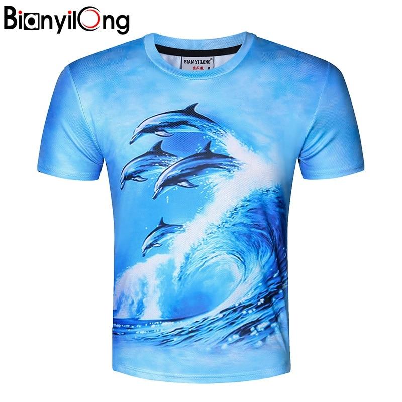 BIANYILONG New Stylish  dolphins Print T-shirt Men/Women Brand Tshirt Fashion 3d T shirt Summer Tops Tees Plus Size M-5XL