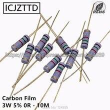 10 pcs 3 3 w 5% W Resistor de Filme de Carbono 5% K 47 43 K K K 62 56 51 K 91 82 75 68 K K K K 100 K 120 K 150 K 180 K 200 K 220 K 240 K 270 K 300 K 330 K