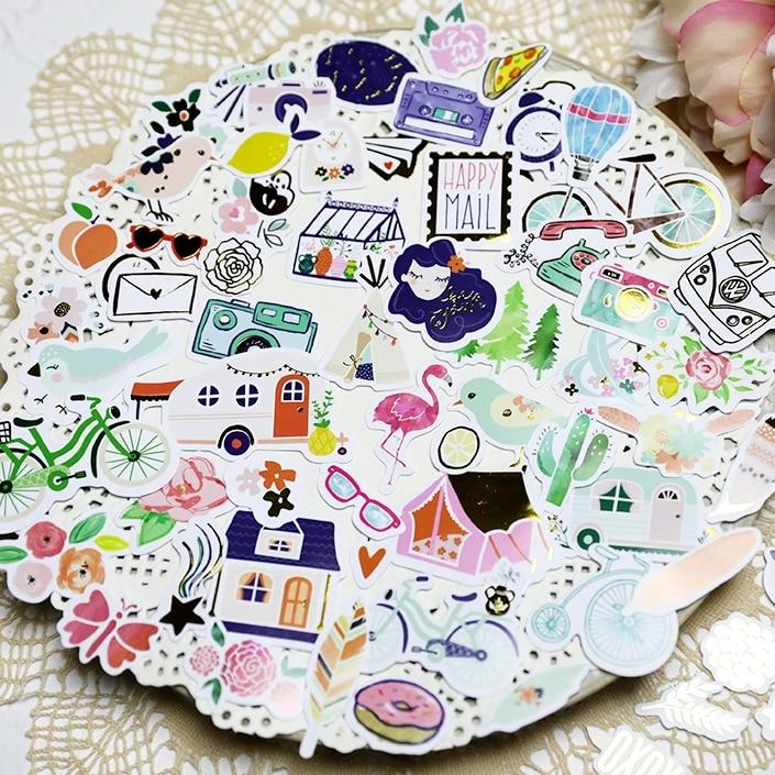 YPP CRAFT 66 uds, cartulina de papel Happy Mail, pegatinas troqueladas para DIY, álbum de recortes, adornos para álbumes de fotos, tarjetas, manualidades