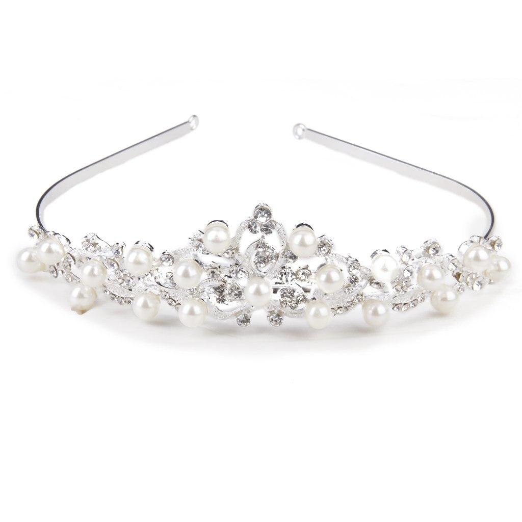 5 paquetes (diamantes de imitación y perlas artificiales corona diadema accesorio de peinado nupcial plata