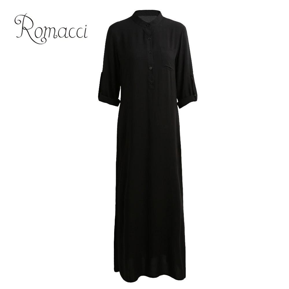 Romacci Vestidos 2020 Herbst Frauen Sexy Casual Kleid Langarm Tiefem V-ausschnitt Split Solide Lange Maxi Kleid 5XL Vintage hemd Kleid