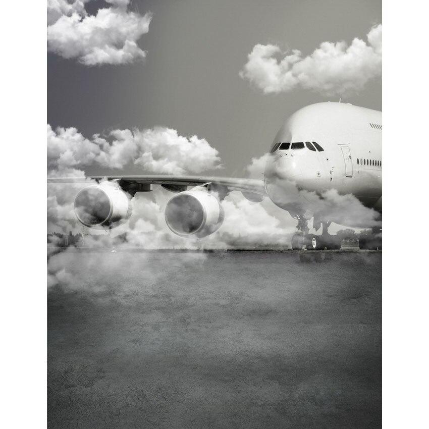 Paño de vinilo sin costuras aeropuerto avión cielo nube escenario fotografía telones de fondo para niños modelo foto retrato de estudio de fondo