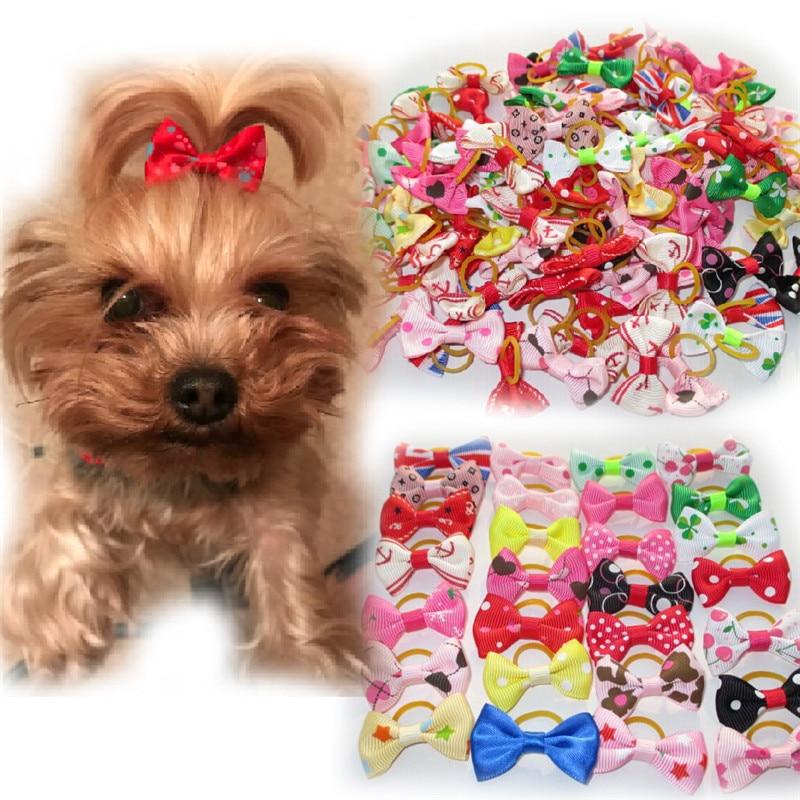 20 шт./лот банты для волос собаки с резиновыми лентами для домашних животных Кошки Loverly уход бант милый щенок собака головные уборы аксессуары