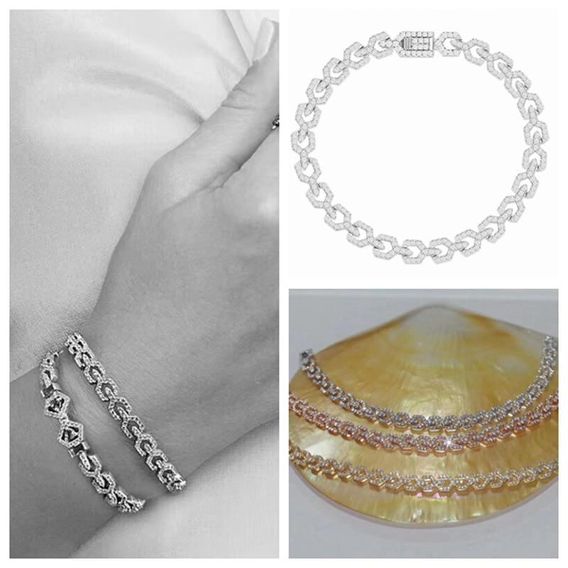 Роскошный ювелирный браслет из стерлингового серебра 925 пробы с цирконием и геометрическим рисунком, художественный амулет