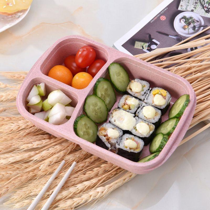 Caja de paja de trigo, 3 rejillas con tapa, caja de alimentos para microondas ecológica, contenedor de almacenamiento Biodegradable, almuerzo para Picnic