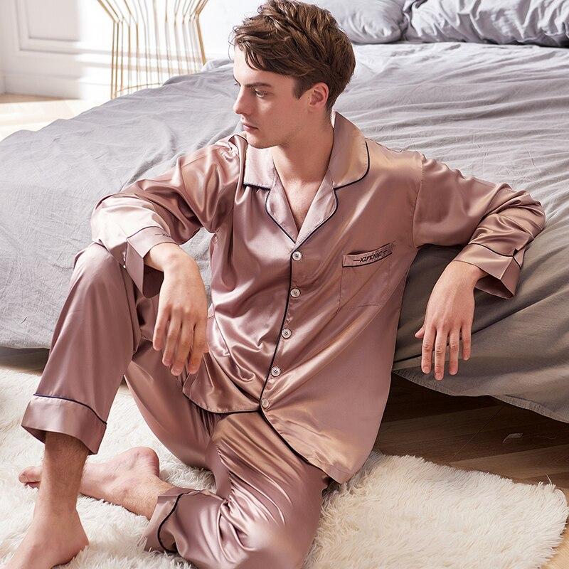 Xifenni искусственный шелк пижамы мужские 2020 осень новинка шелк лед шелк пижамы мужские с длинным рукавом однотонный цвет пижама комплекты 9002