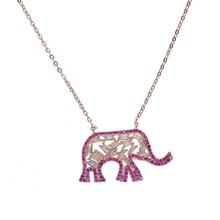 Mignon animal pendentif rouge blanc cubique zircone top qualité usine en gros rose or couleur dames éléphant collier