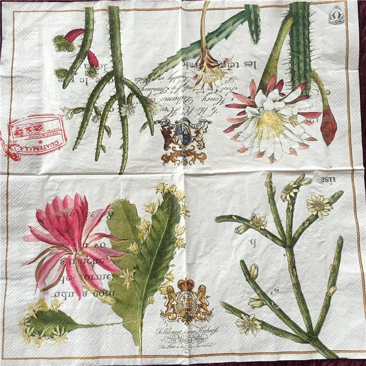 20 servilleta retro de papel para decoración de Cactus, flores, decoración de boda, navidad, cumpleaños, café, decoración, servilletas