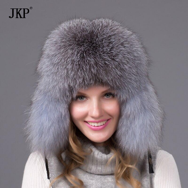 100% ريال الطبيعية الفضة الأزرق الثعلب الفراء قبعة المرأة الشتاء واقي أذن قبعة من الجلد