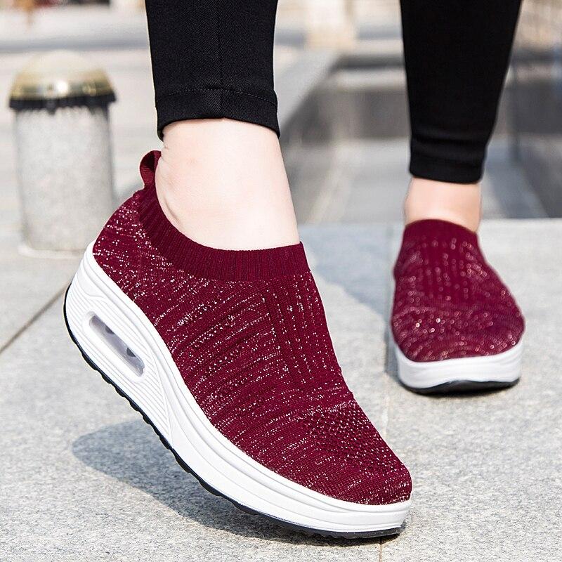 Zapatillas de deporte a la moda deslizantes informales con plataforma para mujer, zapatos de balancín con amortiguación de aire, zapatos para caminar de madre, zapatos bajos para mujer XU041