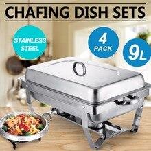 Chafing plat lot de 4 Chafer en acier inoxydable taille réelle 8 pintes Chafing plats pour restauration Buffet