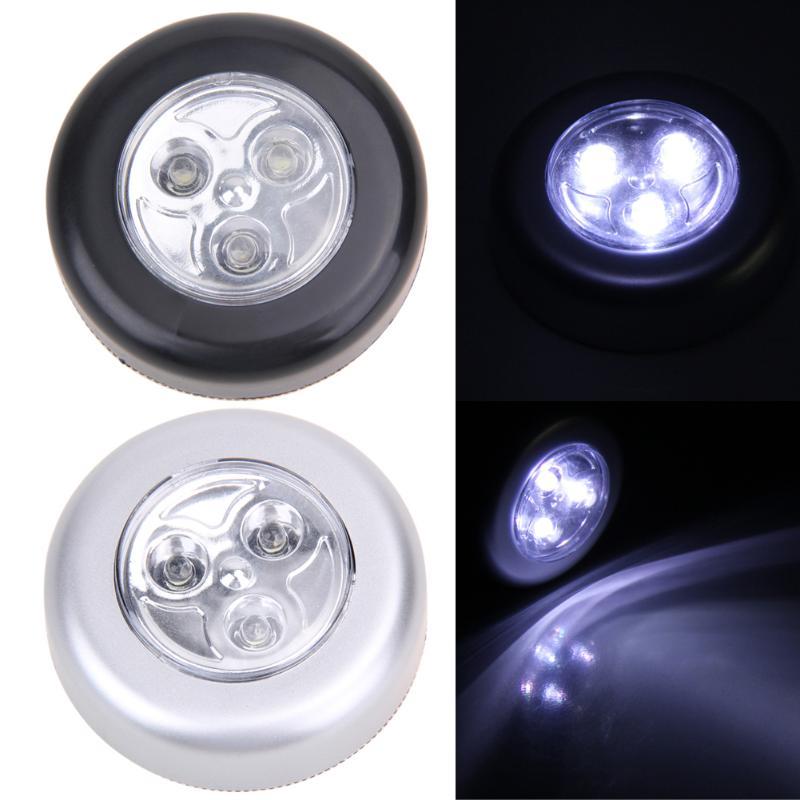 Mini toque de luz 3 LED inalámbrico Stick Tap armario lámpara táctil alimentado por batería redonda Veilleuse coches inalámbricos lámpara de armarios