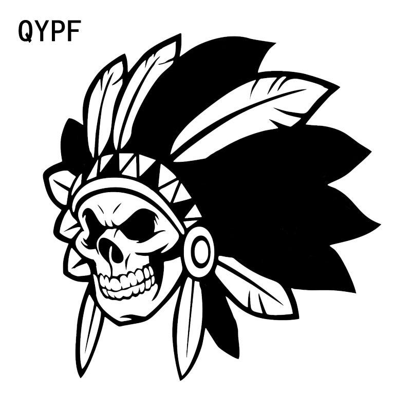 Qypf 14.8*15.3 cm interessante pena crânio todo o corpo gráfico preto/prata decoração etiqueta do carro vinil C16-0048