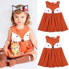 Vêtements dété décontracté és pour bébés filles   Robe en coton, motif renard, sans manches, mignons, pour enfants de 1 à 5 ans