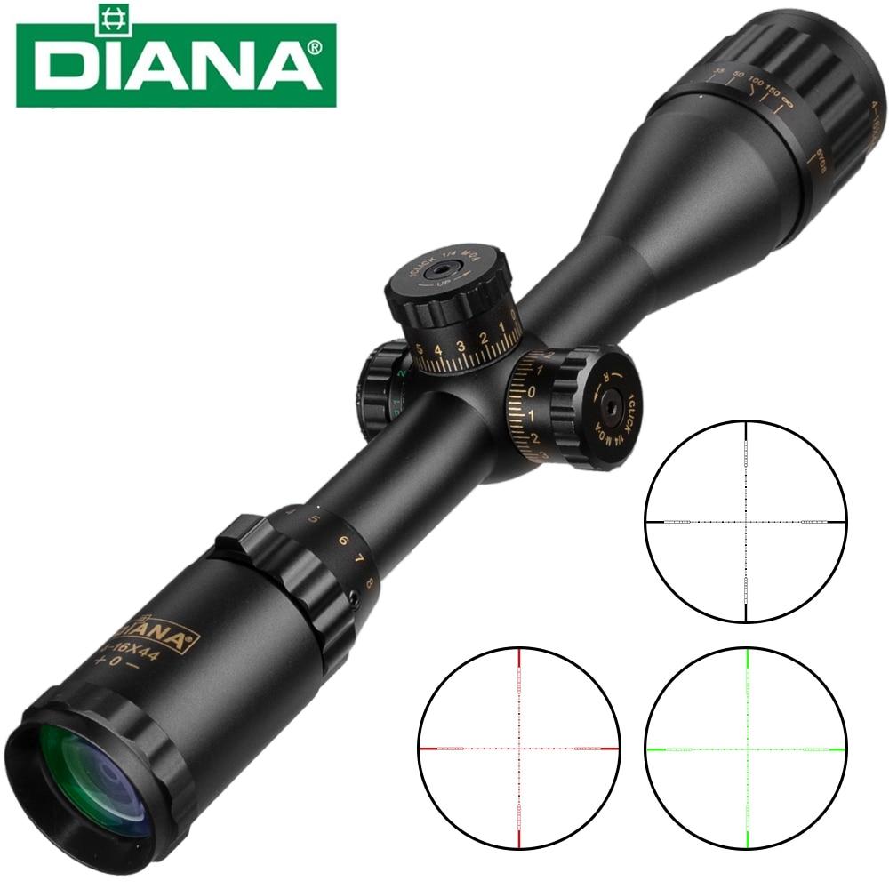 ديانا 4-16x44 عبر البصر الأخضر الأحمر مضيئة التكتيكية البصرية Riflescope بندقية الصيد نطاق قناص الادسنس البنادق الهواء