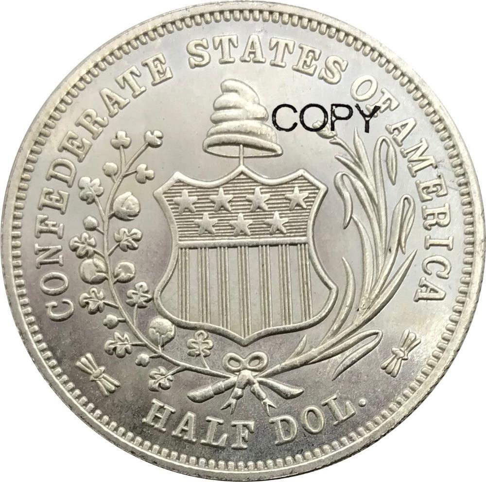 הקונפדרציה הברית של אמריקה הקונפדרציה חצי דולרים ליברטי יושב 1/2 דולרים 1861 Cupronickel מצופה כסף מטבעות עותק