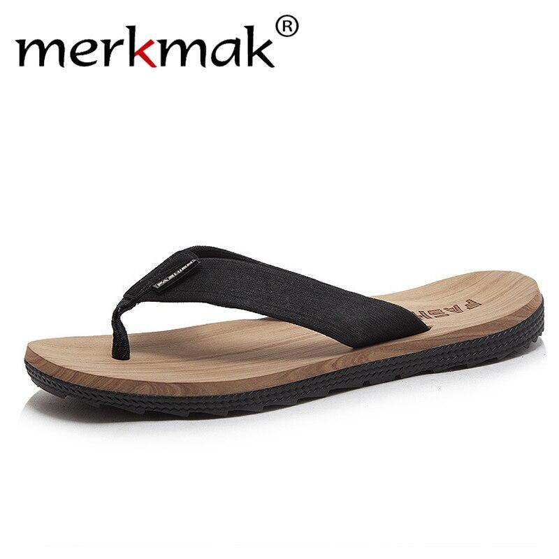 Merkmak 2019 Chanclas de verano para hombre, sandalias de playa informales, Chanclas de moda para hombre, chanclas para exteriores, calzado de alta calidad para hombre