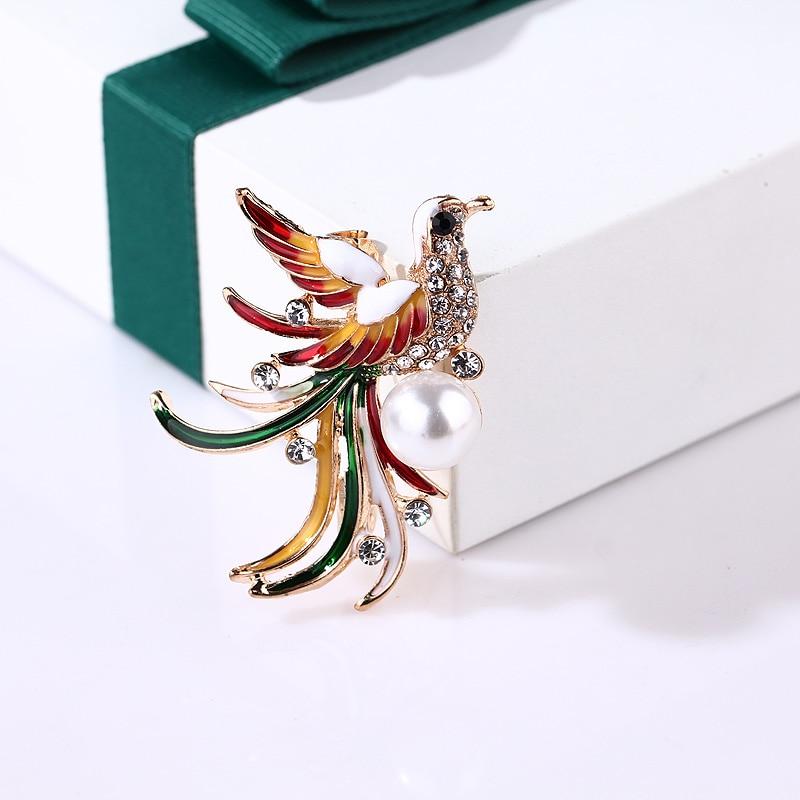 Crystal Enamel Bird Brooch For Women Phoenix/Mandarin Duck/Flamingo/Owl Animal Breastpin Pin Jewelry Accessories