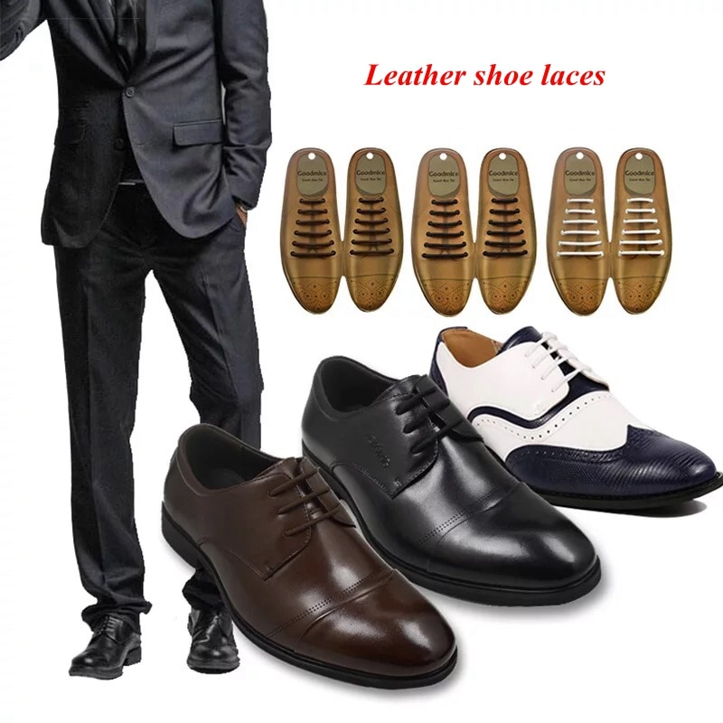 12pcs/set 3 Sizes Men Women Leather Shoes Lazy No Tie Shoelaces Elastic Silicone Shoe Lace Suitable
