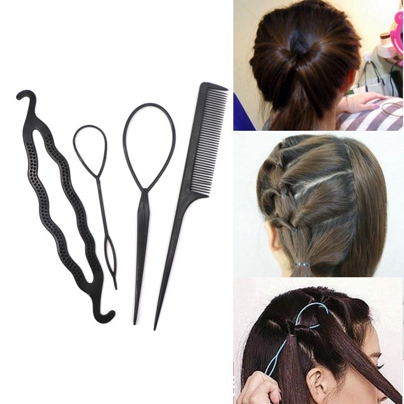 Skritts 4 teile/satz Kunststoff Kamm Haar Pin Clips Dount Bun Twist Haar Braid Maker DIY Haar Styling Werkzeuge Zubehör Frisuren