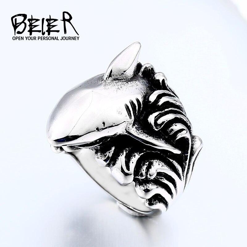BEIER, anillo de acero inoxidable con forma de tiburón para hombre, marcas de espray, accesorios de joyería de animales de mar, BR8-564 de regalo para niños con personalidad creativa