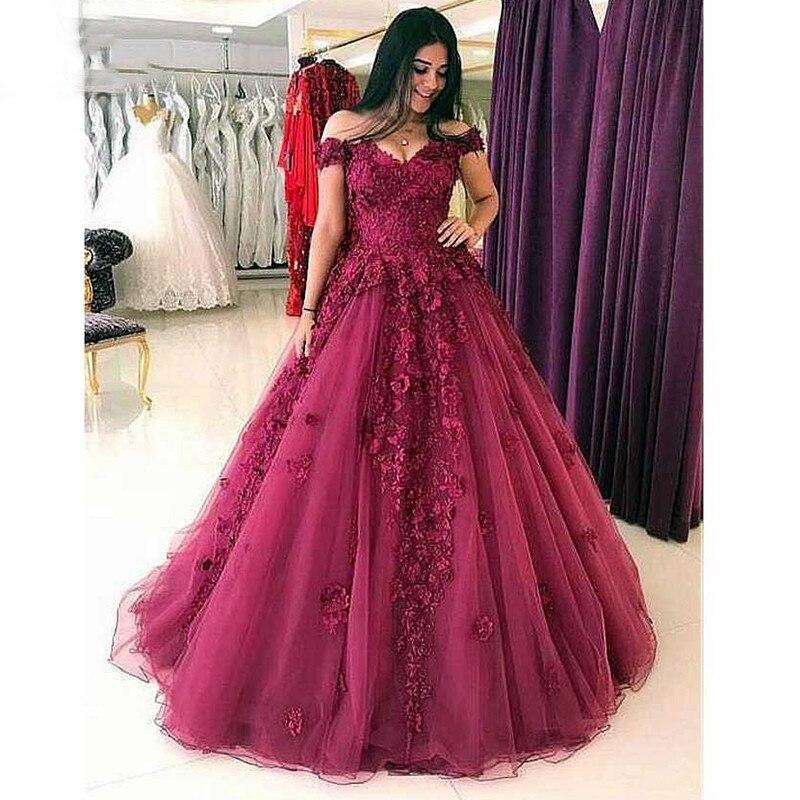 Elegante vestido De noche Borgoña largo 2019 fuera del hombro flores 3D encaje vestido De fiesta De princesa vestido De noche