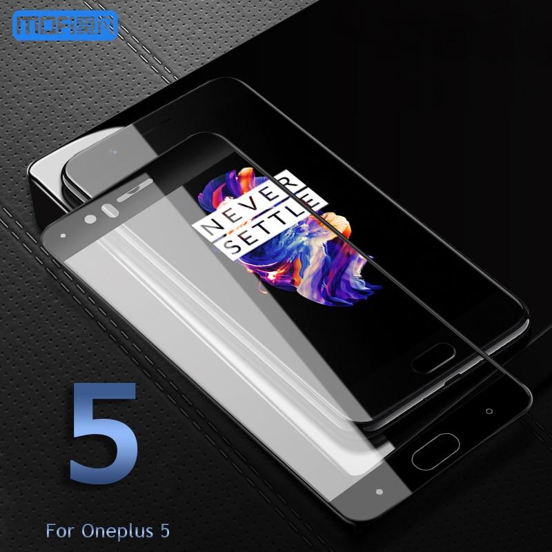 Oneplus 5 de vidrio templado oneplus 5 protector de pantalla oneplus de vidrio 5 MOFi A5000 película de seguridad de la cubierta completa uno más 5 black1 + ¡5glass5! 5