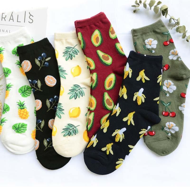 Harajuku bonitos flamencos/aguacate/piña nuevos calcetines mujeres Kawaii Animal calcetines de frutas planta calcetines graciosos Mujer