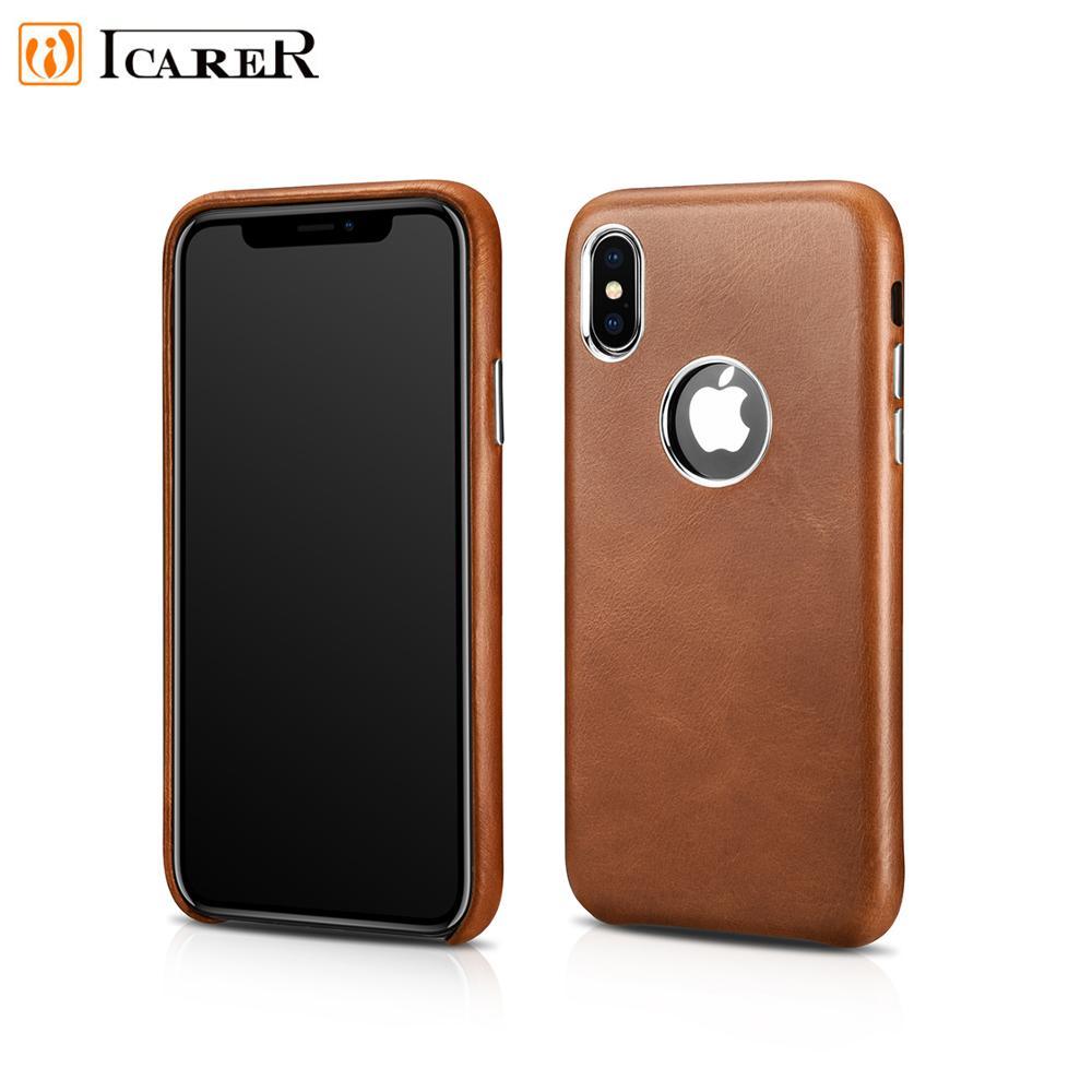 Оригинальный icarer ретро-чехол из натуральной кожи с отверстием для логотипа для iPhone XS MAX, чехол из натуральной кожи для мобильного телефона ...