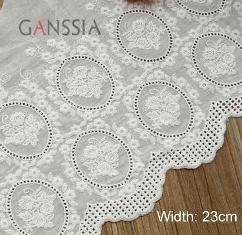 Tissu de coton en dentelle de 1 cour   23cm de largeur, rose élégante, tissu cousu brodé, garniture de vêtement en dentelle pour Scrapbooking ()