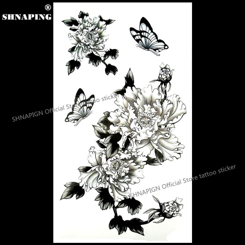 SHNAPIGN, tatuaje temporal de crisantemo negro, tatuaje de Flash para brazo de arte corporal, pegatinas de henna falso a prueba de agua de 17*10cm, pegatina indolora