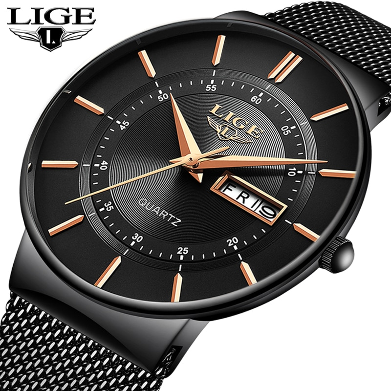 Mens Watches LIGE Top Brand Luxury Waterproof Ultra Thin Date Clock Male Steel Strap Casual Quartz Watch Men Sports Wrist Watch new men watches top brand luxury 50m waterproof ultra thin date clock male steel strap casual quartz watch men wrist sport watch