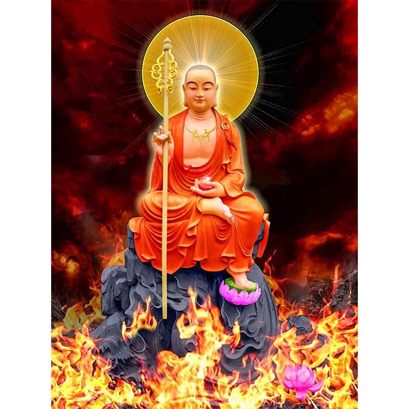 5D DIY pintura de diamante de religión redonda completa Buda fuego punto de cruz diamante mosaico de diamantes bordado decoración pinturas