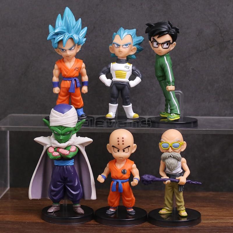 Dragon Ball Z Resurrection F Super Saiyan Blue Son Goku Vegeta Krillin Master Roshi Piccolo Yamcha из ПВХ Фигурки игрушки 6 шт./компл.