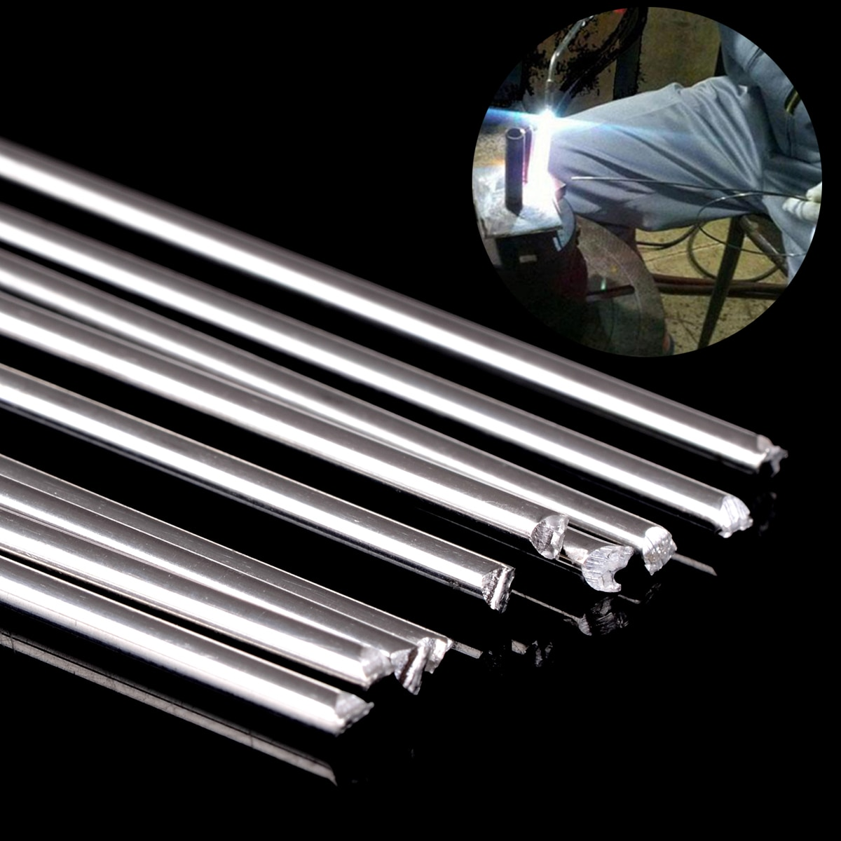 10pcs metal alumínio magnésio prata solda haste com baixa temperatura 1.6mm diâmetro 450mm comprimento