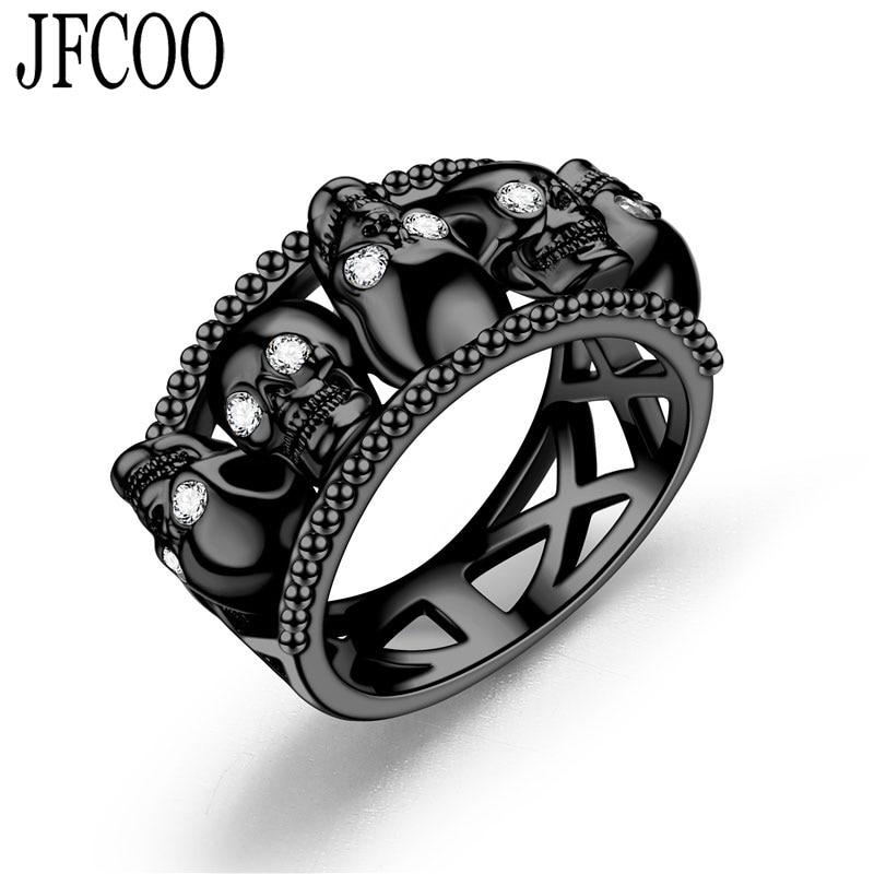 Skull Ring Womens Men Red Black Crystal Ring skull jewelry Dropshipping