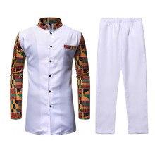 Blanc Afriacn Dashiki robe Chemise pantalon ensemble 2 pièces tenue ensemble Streetwear décontracté hommes africain vêtements costume africain hommes Chemise