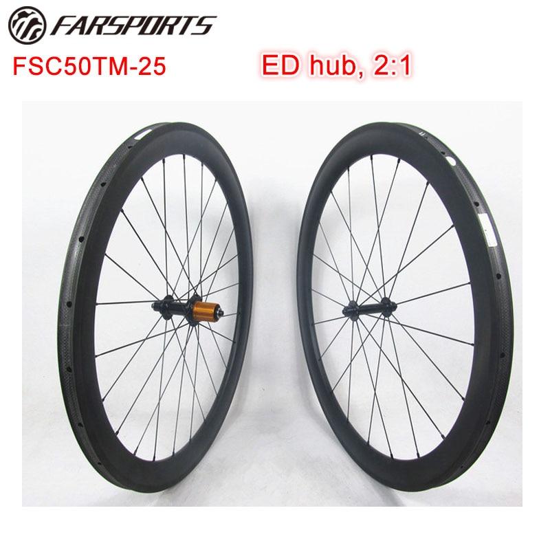 High quality 700C full carbon road bike wheels , Farsports 50mm carbon bicycle wheels tubular with ED 2:1 hub , 20H 24H UD matt