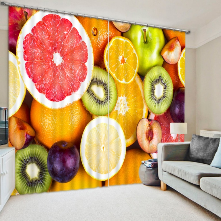 Frutas impresas moderna moda 3D Cortinas opacas para la cocina ropa de cama sala de estar Hotel Oficina Cortinas para sala