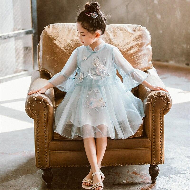 DFXD media manga volantes flor bordado neto velo adolescentes niñas princesa vestido estilo chino Hanfu niños vestido de baile 3-12 años