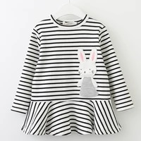 summer girls dresses children clothing stripe bunny patch embroidered kids clothes cotton long sleeved baby girl dress