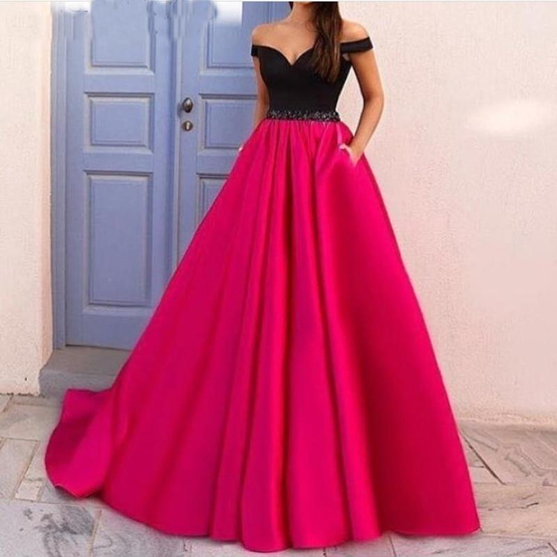 Elegant Black/Hot Pink Satin Evening Dresses Long with Pocket Evening Gown Party Dress vestidos de gala largos