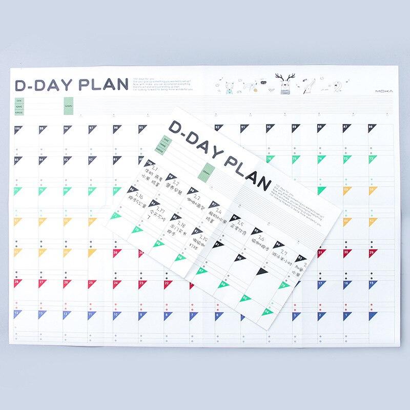 2019 Planejador 100 Dias Calendários de Parede Plano de Aprendizagem Livro cronograma Alvo Idéias Papel Plano de Exercício Escola material de Escritório Agenda