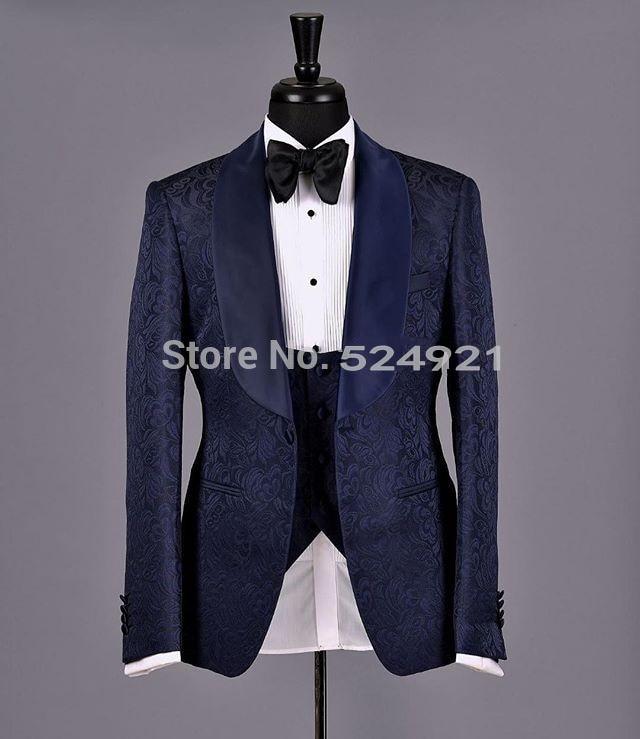 Новое поступление, шаль для жениха, сатиновые смокинги для жениха, темно-синие мужские костюмы, Свадебный лучший мужской блейзер (пиджак + бр...