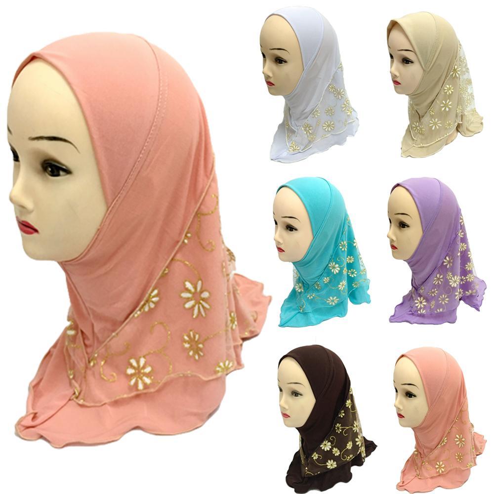 Niños Niñas musulmanes sombreros Hijab islámico árabe islámico gorras bufanda Ramadán Headwear Medio Oriente capó Amira Lace cubierta completa de moda