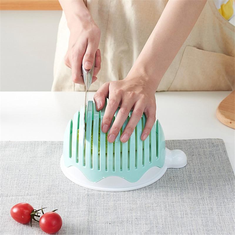 ILFML cocina fruta ensaladas cuenco de corte de verduras con cubierta cortador de verduras espesado herramientas de cocina accesorios de cocina
