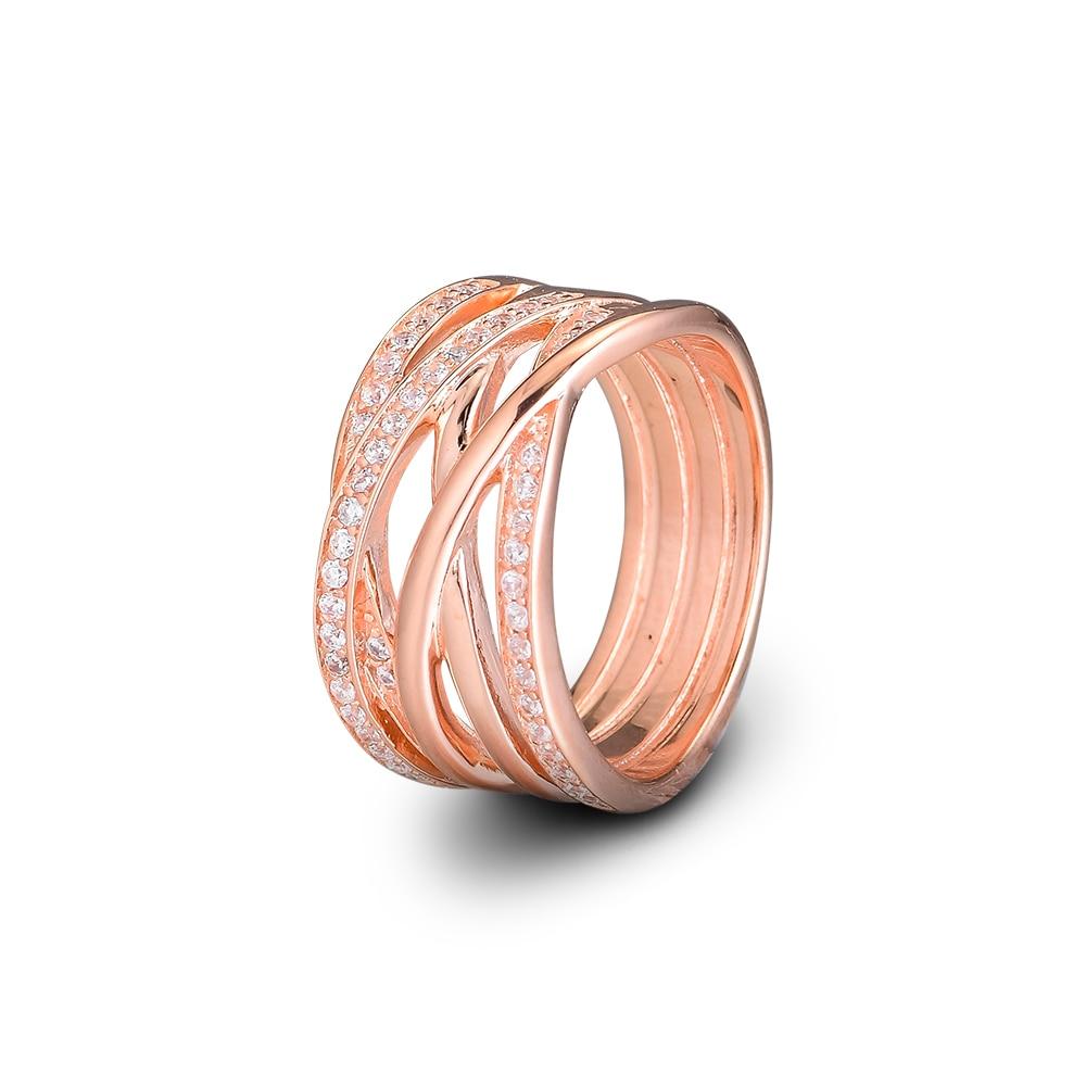 CKK 925 anillos de plata esterlina oro rosa entrelazado para mujeres joyería Original de moda Haciendo regalo de aniversario