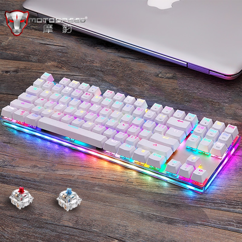 Original Motospeed K87S Gaming Mechanical Keyboard USB Wired 87 keys with RGB Backlight Red/Blue Switch for PC Computer Gamer